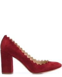 Zapatos de tacón de ante burdeos de Chloé