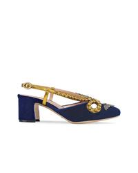 Zapatos de tacón de ante con adornos azul marino de Gucci