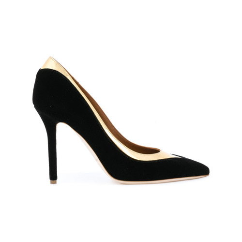Zapatos de tacón de ante con adornos en negro y dorado de Malone Souliers