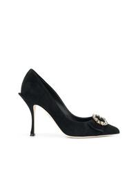 Zapatos de tacón de ante con adornos negros de Dolce & Gabbana
