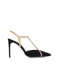 Zapatos de tacón de ante con adornos negros de Rene Caovilla