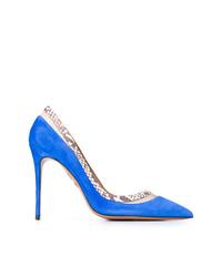 Zapatos de tacón de ante con print de serpiente azules de Aquazzura