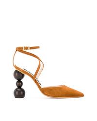 Zapatos de tacón de ante con recorte en tabaco de Jacquemus