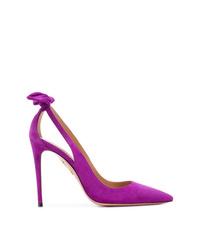 Zapatos de tacón de ante con recorte morado de Aquazzura
