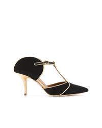 Zapatos de tacón de ante con recorte negros de Malone Souliers