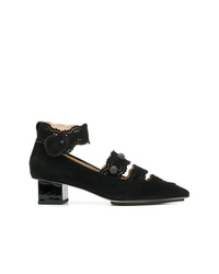 Zapatos de tacón de ante con recorte negros de Rue St