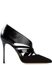 Zapatos de Tacón de Ante con Recorte Negros de Sergio Rossi