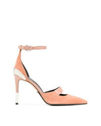 Zapatos de tacón de ante con recorte rosados de Balmain