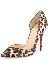 Zapatos de tacón de ante de leopardo blancos