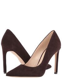 Zapatos de tacón de ante en marrón oscuro