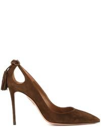 Zapatos de tacón de ante en marrón oscuro de Aquazzura