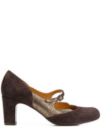 Zapatos de tacón de ante en marrón oscuro de Chie Mihara