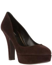 Zapatos de tacón de ante en marrón oscuro de Dolce & Gabbana