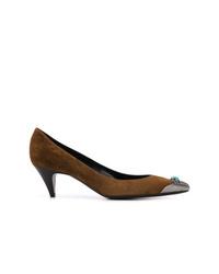 Zapatos de tacón de ante en marrón oscuro de Saint Laurent
