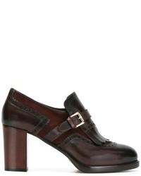 Zapatos de tacón de ante en marrón oscuro de Santoni