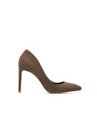 Zapatos de tacón de ante en marrón oscuro de Sarah Chofakian