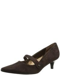 Zapatos de tacón de ante en marrón oscuro de Trotters