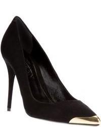 Zapatos de tacón de ante en negro y dorado
