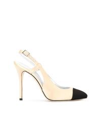Zapatos de tacón de ante en negro y marrón claro de Alessandra Rich