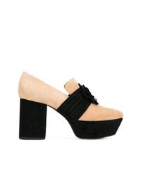 Zapatos de tacón de ante en negro y marrón claro de Dorateymur