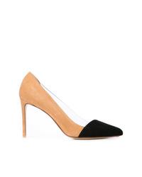 Zapatos de tacón de ante en negro y marrón claro de Francesco Russo