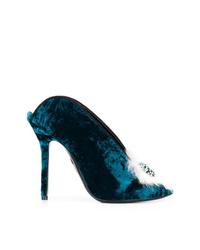 Zapatos de tacón de ante en verde azulado de Aperlaï