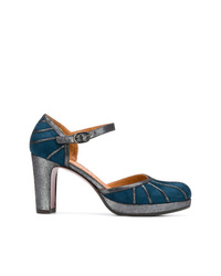 Zapatos de tacón de ante en verde azulado de Chie Mihara
