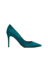Zapatos de tacón de ante en verde azulado de Deimille