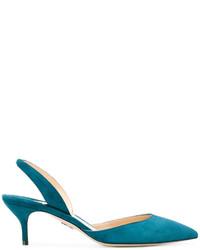 Zapatos de tacón de ante en verde azulado de Paul Andrew
