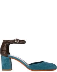Zapatos de tacón de ante en verde azulado de Santoni