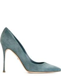 Zapatos de tacón de ante en verde azulado de Sergio Rossi