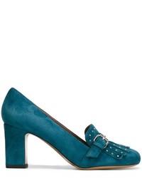 Zapatos de tacón de ante en verde azulado de Tabitha Simmons