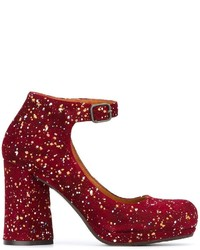 Zapatos de tacón de ante gruesos burdeos de Chie Mihara