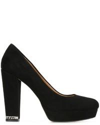 Zapatos de tacón de ante gruesos negros