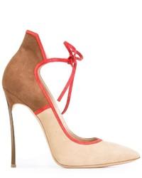 Zapatos de Tacón de Ante Marrón Claro de Casadei