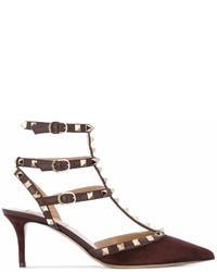 Zapatos de Tacón de Ante Marrón Oscuro de Valentino