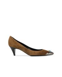 Zapatos de tacón de ante marrónes de Saint Laurent