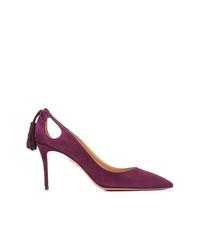 Zapatos de tacón de ante morado oscuro de Aquazzura