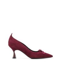 Zapatos de tacón de ante morado oscuro de Casadei
