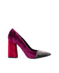 Zapatos de tacón de ante morado oscuro de Just Cavalli