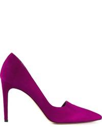 Zapatos de tacón de ante morado de Jean-Michel Cazabat