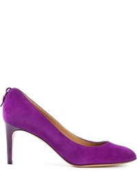 Zapatos de tacón de ante morado de Salvatore Ferragamo