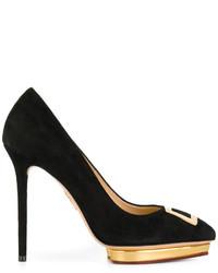 Zapatos de Tacón de Ante Negros de Charlotte Olympia