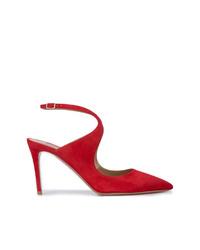Zapatos de tacón de ante rojos de Aquazzura