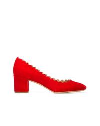 Zapatos de tacón de ante rojos de Chloé