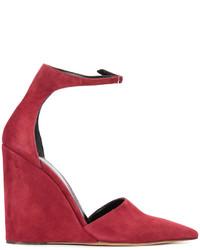 Zapatos de tacón de ante rojos de Derek Lam