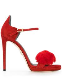 Zapatos de Tacón de Ante Rojos de Loriblu
