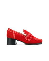 Zapatos de Tacón de Ante Rojos de Nicole Saldaña