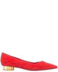 Zapatos de tacón de ante rojos de Salvatore Ferragamo