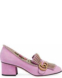 Zapatos de Tacón de Ante Rosados de Gucci